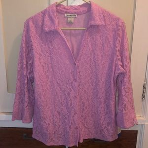Gorgeous pink lace button up blouse